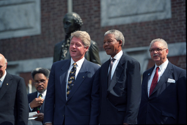 Bill Clinton with Nelson Mandela